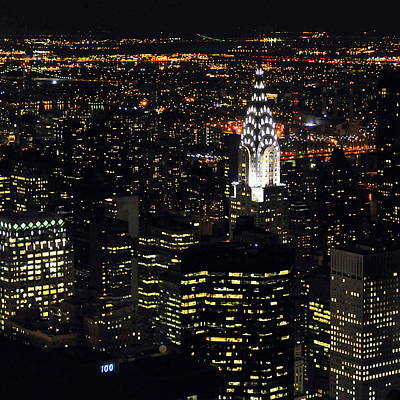 Illuminated Photograph - Chrysler Building At New York City by Philippe Brunel