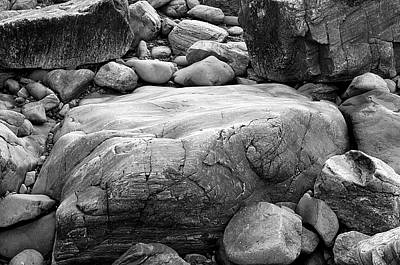 Coastal Granite In Black And White Art Print by David Thompson