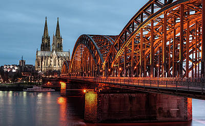Focus On Foreground Photograph - Cologne Cathedral At Dusk by Vulture Labs