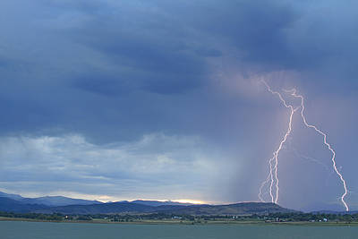 Weather Photograph - Colorado Rocky Mountains Foothills Lightning Strikes by James BO  Insogna