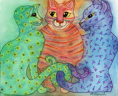Painting - Colorful Cats by Anne Havard