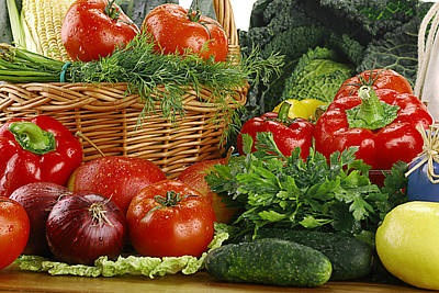 Composition With Wicker Basket And Variety Of Fresh Raw Vegetables Original