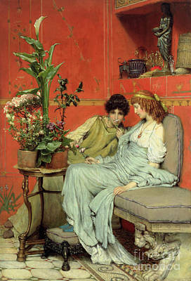 Contemplative Painting - Confidences by Sir Lawrence Alma-Tadema