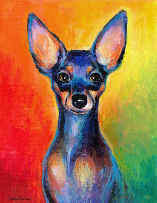 Chihuahua Portraits Painting - Contemporary Colorful Chihuahua Chiuaua Painting by Svetlana Novikova