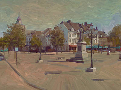 Limburg Painting - Corner Bosch Street And Market Maastricht by Nop Briex
