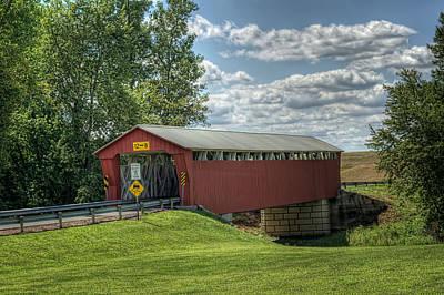 Covered Bridge In Ohio Art Print by Pamela Baker