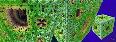 Digital Art - Cubes In Green by Ron Bissett