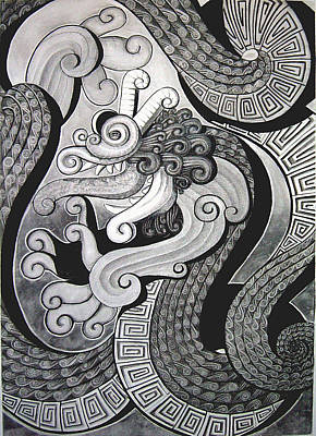 Drawing - Curly Dragon by Myron  Belfast