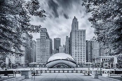 Revolutionary War Art - Cyanotype Anish Kapoor Cloud Gate The Bean at Millenium Park - Chicago Illinois by Silvio Ligutti