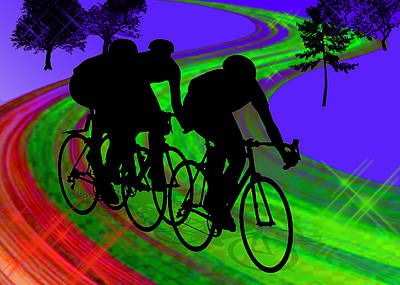 Cycling Trio On Ribbon Road Art Print by Elaine Plesser