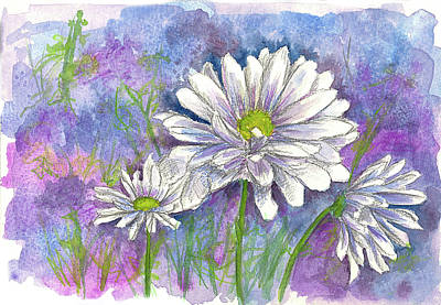 Print featuring the painting Daisy Three by Cathie Richardson