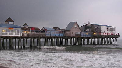 Oob Photograph - Dark Skys At The Pier Old Orchard Beach Maine by Martin Rogers