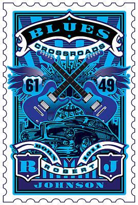 David Cook Umgx Vintage Studios Blues Crossroads Illustrated Stamp Art Poster Art Print by David Cook  Los Angeles Prints