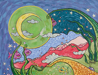 Big Moon Painting - Daydreaming by Tanielle Childers
