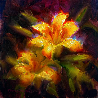 Lilies Royalty-Free and Rights-Managed Images - Daylily Sunshine - Colorful Tiger Lily/Orange Day-Lily Floral Still Life  by Karen Whitworth