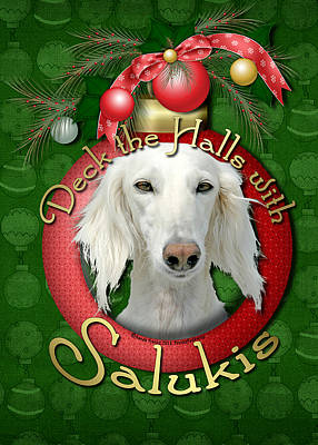Deck The Halls With Salukis Art Print by Renae Laughner