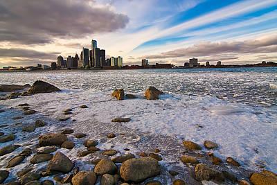 Detroit River In Winter Original by Cosmin Nahaiciuc