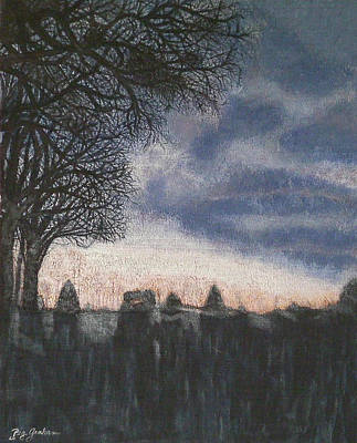 Spooky Scene Painting - Distant Glow by Peg Graham