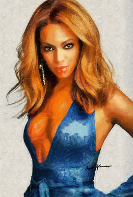 Beyonce Knowles Painting - Diva by Anthony Caruso