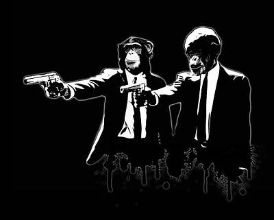 Grafitti Digital Art - Divine Monkey Intervention - Pulp Fiction by Nicklas Gustafsson