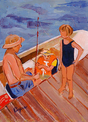 Painting - Dockside Negotiation On Who Is Fishing by Elzbieta Zemaitis