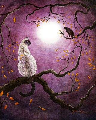 Fantasy Cats Painting - Dreaming Of A Raven by Laura Iverson