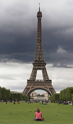Stormy Photograph - Eiffel Tower. Paris by Bernard Jaubert