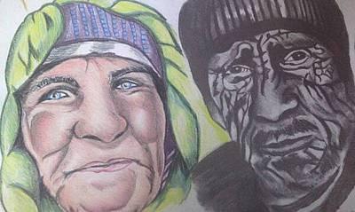 Drawing - Elderly Couple by Pauline Murphy