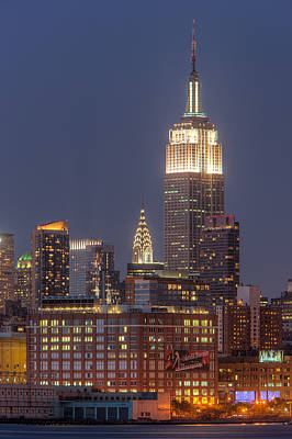 Photograph - Empire State And Chrysler Buildings At Twilight by Clarence Holmes