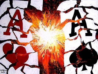 Exploding Aces Poker Art Original by Teo Alfonso