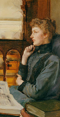 Contemplating Painting - Far Away Thoughts by Sir Lawrence Alma-Tadema
