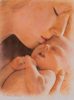 Pastel Portrait Painting - First Moment by Colleen Quinn