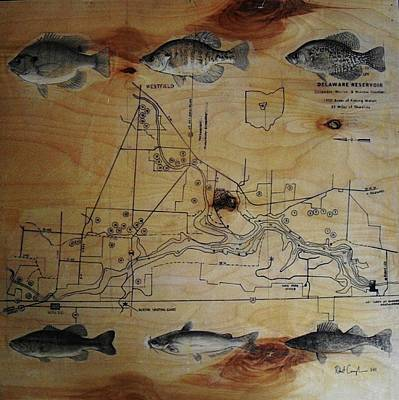 Largemouth Painting - Fish Map by Robert Cunningham
