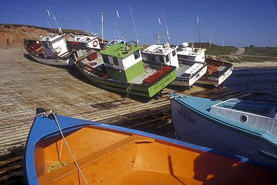 Fishing Boats - Magdalen Islands Art Print by Carol Barrington