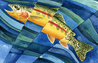 Trout Painting - Flickering Gold by Mark Jennings