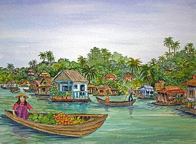 Southeast Asia Painting - Floating Village In Vietnam by Bonnie Sue Schwartz