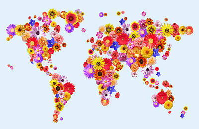 Flower World Map Art Print by Michael Tompsett