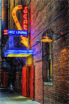 Popstar And Musician Paintings Royalty Free Images - Fort Worth Impressions Scat Lounge Royalty-Free Image by Joan Carroll