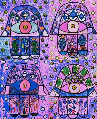 Chanukkah Digital Art - Four Pink Hamsa by Sandra Silberzweig