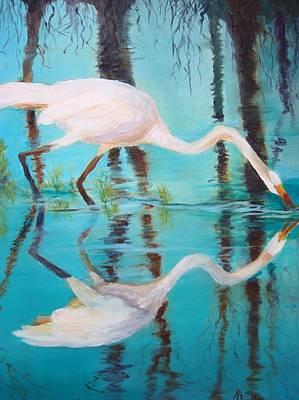 Painting - Fowl Fishing by AnnE Dentler
