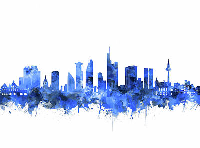 Abstract Skyline Royalty-Free and Rights-Managed Images - Frankfurt City Skyline Blue by Bekim M