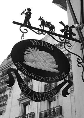 Boulangerie Photograph - French Bakery Sign - Black And White by Carol Groenen