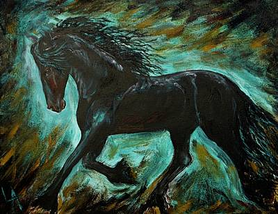 Painting - Friesian Frolic Series 1 by Leslie Allen