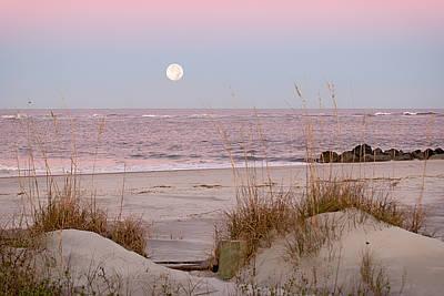 Full Moon Over Folly Beach Art Print by Vanessa Kauffmann