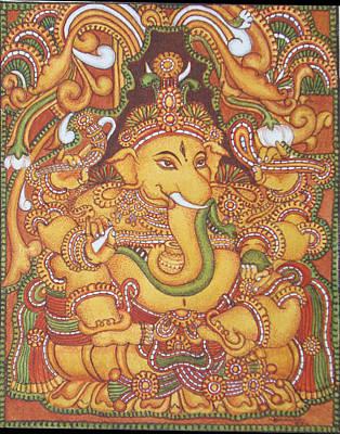 Kerala Painting - Ganesa 1-kerala Mural by Asha Sasikumar