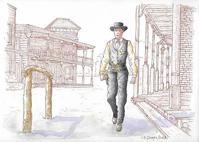 Painting - Gary Cooper In High Noon, 1962 by Carlos G Groppa