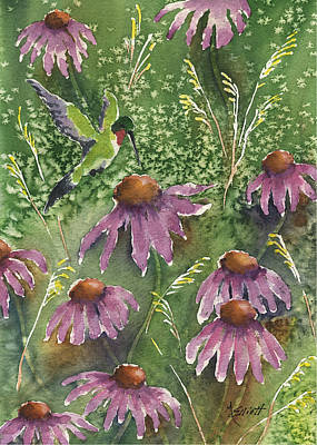 Coneflowers Painting - Gathering Nectar by Marsha Elliott