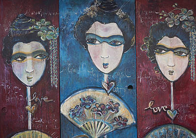 Painting - Geisha Love Triptych by Laurie Maves ART