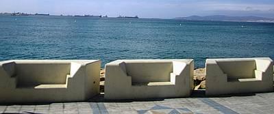 Photograph - Gibraltar Ocean Promenade Walkway Benches II Uk by John Shiron
