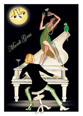 Mardi Gras Painting - Girl Dancing On Piano by Anne Beverley-Stamps